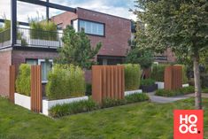 Moderne en strakke voortuin Narrow Garden, Front Yard Design, Pergola, Sidewalk, Villa, Outdoor Decor, Modern, Home Decor, Balconies