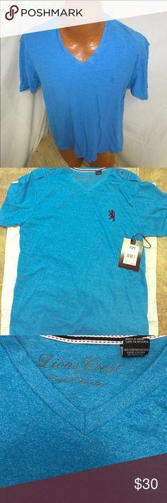 Lions crest v neck 100% cottton English Laundry Shirts Tees - Short Sleeve