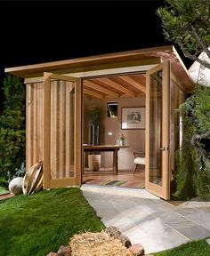Garden sheds, man shed office, backyard office, backyard studio, garden stu Shed Office, Backyard Office, Backyard Studio, Backyard Sheds, Outdoor Sheds, Cozy Backyard, Outdoor Office, Outdoor Art, Backyard Cabana