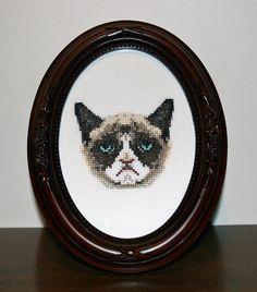 DIY Grumpy Cat pdf Original Cross Stitch Pattern by bombastitch, $4.00