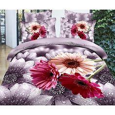 vier stuk 3d regen bloemen afdrukken dekbed set - EUR € 33.93
