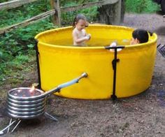 Just because you live off the grid doesn't mean you csn't have comfort, ehere ev. - Just because you live off the grid doesn't mean you csn't have comfort, ehere ever you go. Outdoor Tub, Outdoor Bathrooms, Backyard Hammock, Backyard Landscaping, Jacuzzi, Piscine Diy, Camping Toilet, Geothermal Energy, Swimming Holes