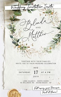 Wedding Invitation Template Suite with Eucalyptus Greenery Purchase, edit, and p. - Wedding Invitation Template Suite with Eucalyptus Greenery Purchase, edit, and print within minutes - Luxury Wedding Invitations, Rustic Invitations, Wedding Invitation Templates, Wedding Stationery, Invitation Kits, Rustic Wedding Invitations, Event Invitations, Shower Invitation, Before Wedding