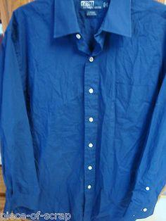 RALPH LAUREN POLO Mens Shirt size 17 32 / 33 CURHAM Long Sleeve Oxford Blue L/S