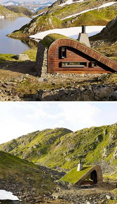 Green Roofs and Great Savings Building Art, Green Building, Building A House, Micro House, Tiny House, Vertical Herb Gardens, Hunting Cabin, Unique Buildings, Strange Places