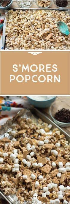 S'mores popcorn recipe; easy dessert recipe; easy sweet snack recipe; candied popcorn