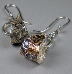 Earrings | FebraRose Designs. Fine silver metal clay and rainbow patina.