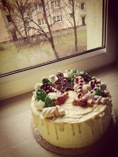 Birthday cake in winter style. Mint and strawberry taste.