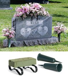 Memorial Saddles For Headstones | Memorial Vases and Foam Saddle Set from Collections Etc.