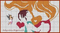 0 point de croix femme embrassant son bébé - cross stitch girl kissing her baby