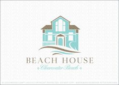 Logo for sale: Classic beach house logo featuring an aqua painted modern house with sandy beige accents on the door and roof. Stylized wavy elements envelop the bottom portion of the beach home to represent the natural ocean waves of a beach side home.