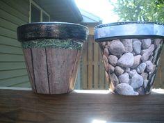 Modge Podge flower pots