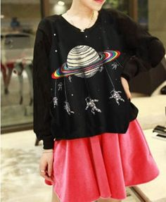 Saturn Print Round Neckline Sweatshirt - Clothing