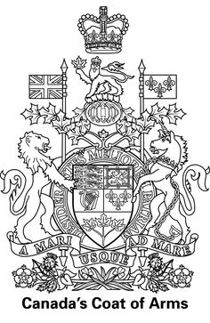 Canada Coat's of Arms colouring page