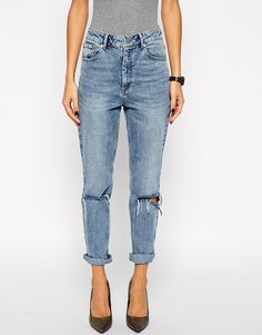 ASOS Farleigh High Waist Slim Mom Jeans in Day Dreamer Vintage Wash with Busted Knees