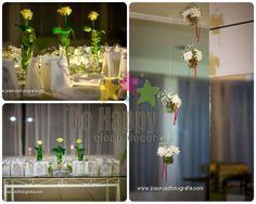 Festa para 80 anos feminino em salão especializado em festas (buffet). Cores: Verde e branco.