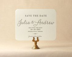 The Verbena Suite - Letterpress Save the Date Wedding Announcement, Black and White, Taupe, gold, Script, Cursive, Calligraphy, Simple
