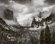 """Clearing Winter Storm, Yosemite Valley, CA. Ansel Adams    I won't consider myself to be a """"good"""" photographer until I can make shots like this. An impossible goal? Yes. But a lifetime's journey."""