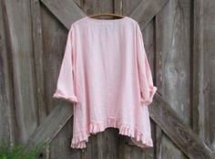 RESERVED FOR M E linen top ruched with bow in light pink ready