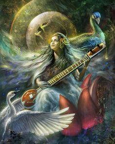 Artstation - the hindu goddess of music, anik biswas. Arte Shiva, Shiva Art, Krishna Art, Hindu Art, Saraswati Goddess, Kali Goddess, Goddess Art, Saraswati Mata, Indian Goddess