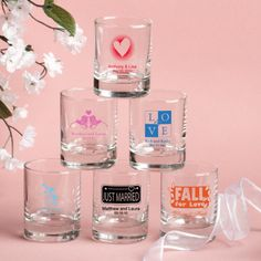 Wedding Shot Glass / Votive Candle Holder - Exclusive Designs - 3.5 Oz