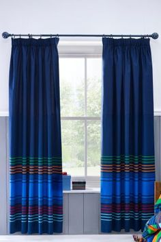 Buy Brights Stripe Pencil Pleat Blackout Curtains from the Next UK online shop