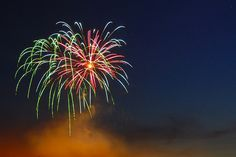 How to get the best fireworks shot.   [Tips by Juan Sicardi]   Use a tripod, manual focus set to infinity, ISO 100-400 (experiment what works best for you), apertures at and above f/8 and long shutter speeds (1-6 seconds).     Take a LOT of shots, using a remote control or delayed exposure to avoid camera shake.        Shots from my 1st fireworks shootout on Victoria day; approx 200 meters from the fireworks.     [Image from piscuison's Fireworks Flickr stream]