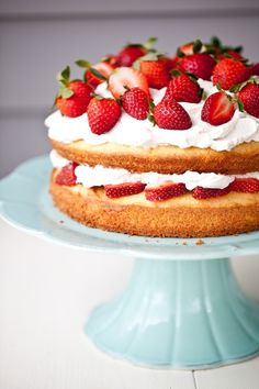 black pepper sponge cake with balsamic whipped cream and strawberries ~ recipe desserts