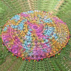 Elephant Wall Hanging Tie Dye Large Roundie - Multicolor Pom Pom Border