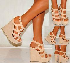 Women Nude Beige Tan Suede Wedges Wedges Summer Strappy Platforms High Heels | eBay