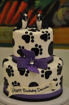 Our wedding cake will be similar, only with our custom made dog toppers and a purple background to the cake