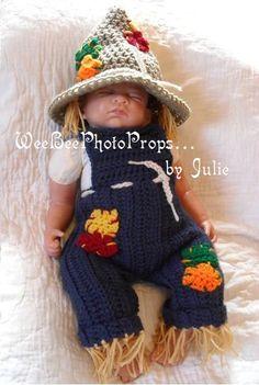 newborn halloween scarecrow costume by WeeBeePhotoProps on Etsy, $50.00