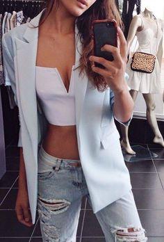 #street #style crop top + blazer @wachabuy