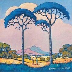 "Trees ""Landscape in Blue"" - Hannes van der Walt (South African Artist) Art And Illustration, Landscape Art, Landscape Paintings, Landscape Pavers, South African Artists, Parasol, Inspirational Wall Art, Naive Art, Wall Art Pictures"