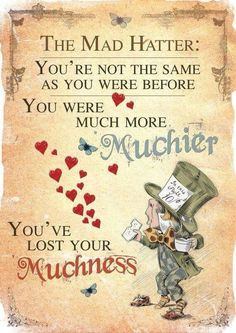 Alice in Wonderland Printable Poster Art - Mad Hatter Tea Party Lost Yourself - Bilder, Poster, Malerei - Movies Alice Quotes, Disney Quotes, Book Quotes, Me Quotes, Qoutes, Quotes Girls, Famous Quotes, Alice And Wonderland Quotes, Alice In Wonderland Tea Party