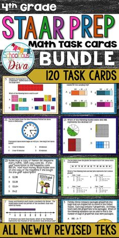 Get ready for the 4th grade STAAR math test with these task cards!