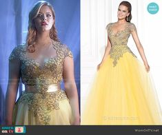 Ali's yellow gown on Pretty Little Liars.  Outfit Details: http://wornontv.net/50891/ #PLL