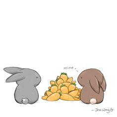 Mine Art Print by Jess Wong Cute Animal Drawings, Kawaii Drawings, Cute Drawings, Bunny Drawing, Bunny Art, Dibujos Cute, Illustrator, Rabbit Art, Cute Illustration