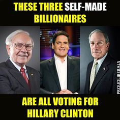 Self-made billionaires voting  for Hillary call DON THE CON a fake and want him to release HIS TAX RETURNS!