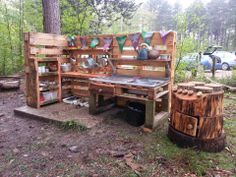 mud kitchen with a stump oven, via Rounded & Grounded