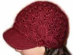 I need to learn how to crochet! Crochet Hat With Brim, Crochet Beret, Crochet Kids Hats, Crochet Cap, Love Crochet, Knitted Hats, Sombrero A Crochet, Crochet Flower Patterns, Crochet Videos