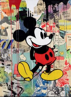 Details about Brainwash + Banksy MICKEY print canvas street art graffiti - Streetart - Street Art Graffiti, Graffiti Kunst, Graffiti Wall Art, Graffiti Lettering, Art Banksy, Banksy Canvas, Graffiti Artists, Mickey Mouse Kunst, Mickey Mouse Cartoon