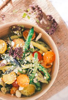 Green Bean and Tomato Salad with Creamy Avocado Herb Dressing