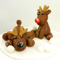 Rudolph the Reindeer & friends, cute Christmas cake toppers