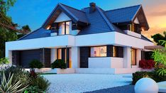 Alicja X 2G - zdjęcie 1 Home Fashion, Planer, Beautiful Homes, Exterior, Mansions, Houses, House Styles, Home Decor, Small Modern House Plans