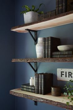 The live-wood edge on the floating shelves created a masculine look that gave th. : The live-wood edge on the floating shelves created a masculine look that gave this office even more personality. Small Home Office Furniture, Home Furniture, Furniture Removal, Furniture Movers, Recycled Furniture, Luxury Furniture, Vintage Furniture, Home Office Design, Home Office Decor