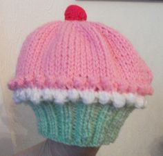 Cupcake hat handknitted, any colours, sizes birth to 2years,  made to order