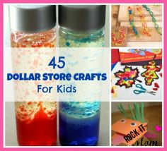 45 Dollar Store Crafts For Kids, 45 crafts for kids using items from the dollar store, or just around the house! ~RockItLikeAMom.com >>http://rockitlikeamom.com/45-dollar-store-crafts-for-kids/