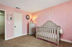 A DIY pink stenciled nursery using the Simple Rhyme Allover Stencil. http://www.cuttingedgestencils.com/simple-stencil-stencils.html