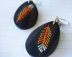 FEATHEREmbroidered Wood Earrings by IbbyAndRufus on Etsy